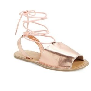 Topshop Holly Metallic Rose Gold Lace Up Sandal